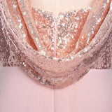 Rose Gold A Line Spaghetti Straps Prom Gown Backless Sequins Chiffon Bridesmaid Dress PFB0096