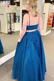 Promfast Royal Blue Sparkle Tulle Straps Appliques Two Piece Prom/Formal Dress PFP1893