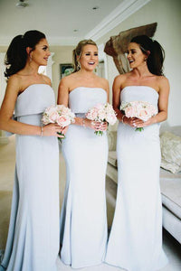 Simple Strapless Grey Satin Cheap Long Bridesmaid Dresses