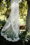 Alencon Lace Edged Cathedral Length Tulle Bridal Veil Wedding PFWV0008
