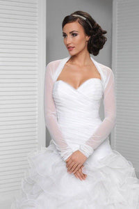 White Long Sleeve Weeding Bolero Jacket, Cheap New Style Bridal Jacket PFSW0012