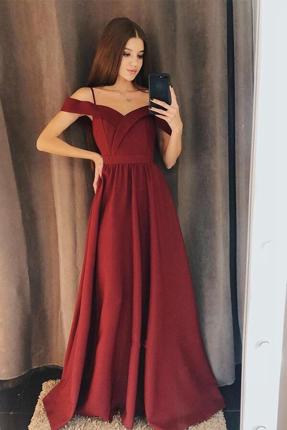 Promfast Charming A Line Off the Shoulder Burgundy Satin Long Prom Dresses PFP1802