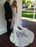 Off the Shoulder Short Sleeves Court Train Mermaid Wedding Dress with Appliques Lace PFW0026