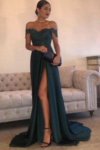 A Line Navy Green Chiffon High Split Prom Dress,Sexy Lace Top Party Gown PFP0404