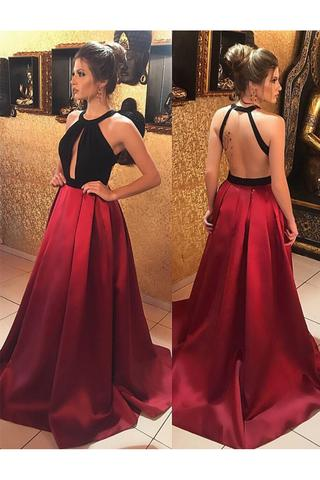 long open back burgundy satin a line black top prom dresses PFP0406