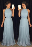 Gorgeous High Neck Halter Blue Long Chiffon Floor-Length Prom Dresses PFP0410