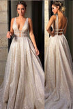 Sparkly Deep V Neck Wedding Dress Bridal Gown,Sequin Prom Dresses PFW0027