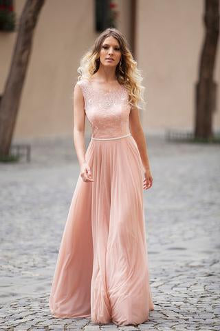 Modest Blush Pink Lace Chiffon Sleeveless Backless A-Line Long Prom Dresses PFP0411