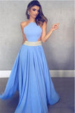 Unique Blue Chiffon Long A Line Beaded Prom Dresses PFP0414