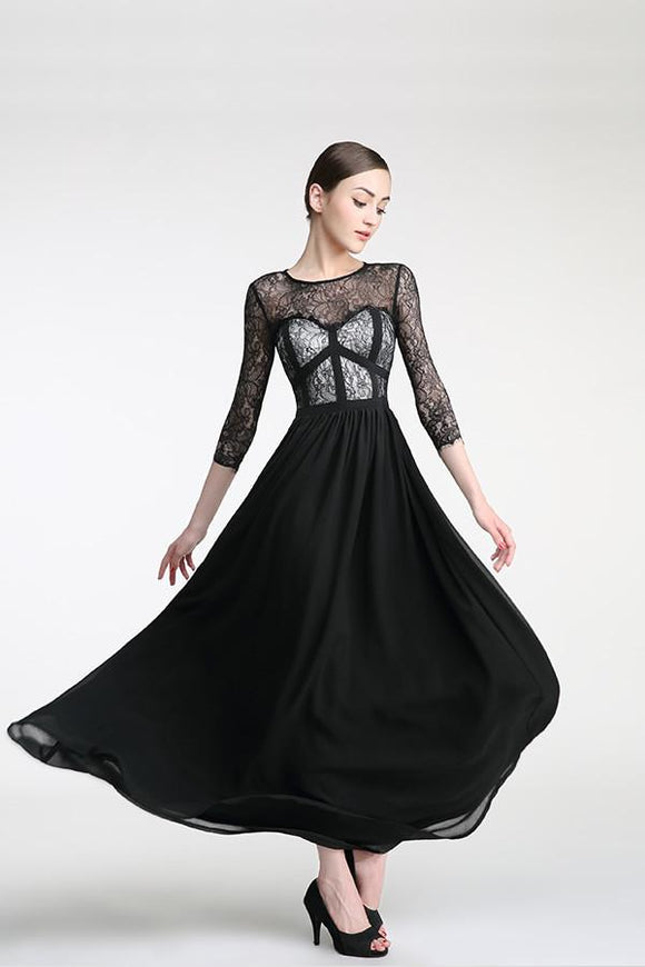 Long Sleeves Black Lace Cap Sleeves Prom Party Dresses PFP1304