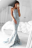 Charming Mermaid Halter Sweep Train Blue Lace Sleeveless Prom Dress PFP0416