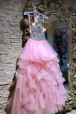 Sexy Sleeveless Crystal Beaded Pink Ruffles Tulle Puffy Prom Dresses,Pretty Long Evening Dress