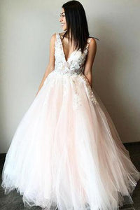 A Line Tulle V Neck Sleeveless Prom Dress With Lace Appliques