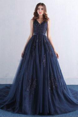 Dark Blue V Neck A Line Appliques Tulle Long Prom Dress