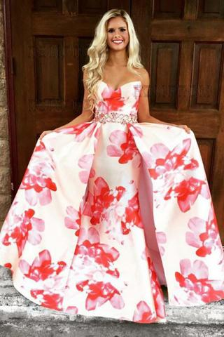 A-Line Sweetheart Floral Printed Pink Satin Prom Dress with Beading