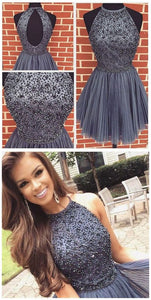 New Arrival Open Back Gray Tulle Short Prom Dresses Homecoming Dress