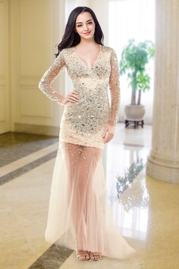 V-neck Long Sleeves Beaded Modest Prom Party Dresses PFP1312