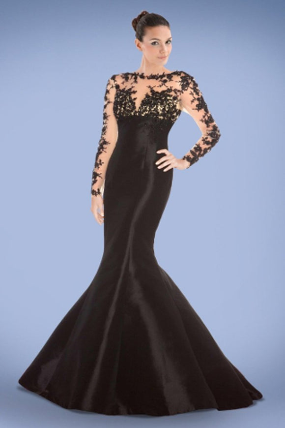 Black Long Sleeves Lace Mermaid Sheath Prom Dresses PFP1313
