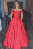 Elegant Coral Short Sleeves Off the Shoulder Ball Gown Cheap Prom Dress With Pocket