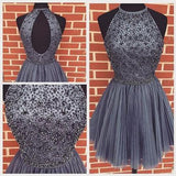 New Arrival Open Back Gray Tulle Short Prom Dresses Homecoming Dress PFH0112