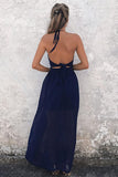 A-Line Halter Floor-Length Backless Navy Blue Chiffon Prom Dress