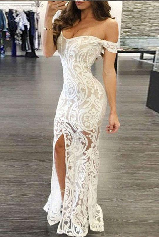 Sexy Sheath Off-the-Shoulder Long Lace Prom Dresses with Split