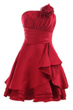 Strapless Red A Line Pleats Short Prom Dress With Flowers, Homecoming Dress