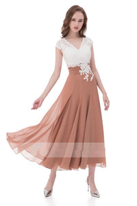 Unique A Line V Neck Chiffon Lace Top Ankle-length Cap Sleeves Prom Dress