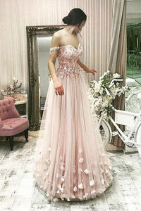 Pink Tulle A Line Off the Shoulder Flowers Long Prom Dress
