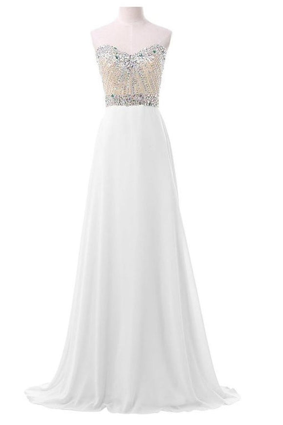 White Chiffon Sweetheart Beaded Long Prom Evening Dresses PFP1323