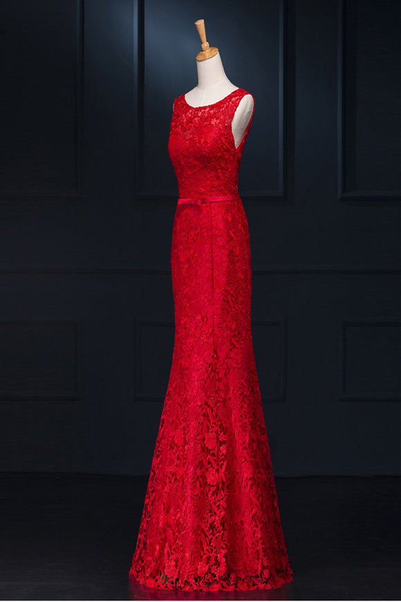 Sheath Real Sexy Red Lace Long Mermaid Backless Prom Evening Dresses PFP1324