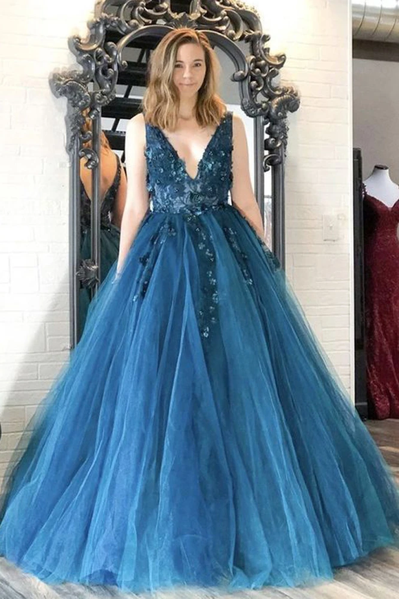 Promfast Ball Gown V Neck Teal Tulle Long Prom Dresses with Appliques,Quinceanera Dresses,Girls Junior Graduation Gown PFP1898