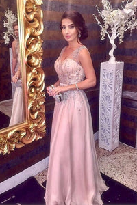 Pink Sparkly Beading V neck A Line Prom Dress,Sleeveless Long Formal Party Dress