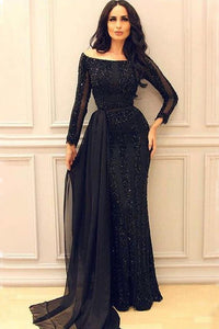 Black Long Sleeves Mermaid Prom Gowns,Sexy Formal Women Evening Dress