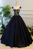 Generous Puffy A-Line Cap Sleeves Lace-up Black Satin Long Prom Dress with Appliques PFP0445