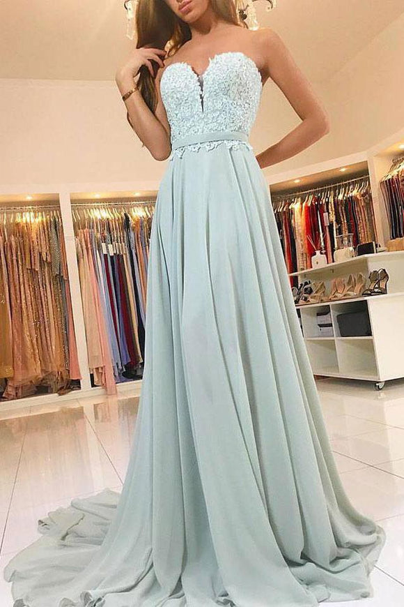 Sweetheart Strapless Cheap Long Chiffon Prom Dresses with Lace