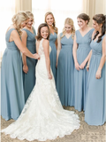 A-Line V-Neck Floor-Length Dusty Blue Chiffon Simple Bridesmaid Dress with Ruched PFB0151
