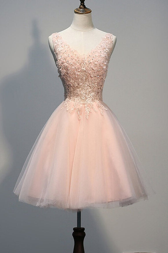 Blush Pink Lace Beaded Backless V-neck Homecoming Dresses PFP1328