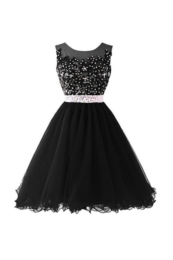 Black Beaded Cap Sleeves Lace Homecoming Cocktail Dresses PFP1329