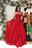 Princess A Line Sweetheart Strapless Red Lace Long Prom Dress