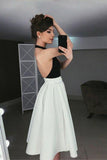 Simple A-Line Halter Backless Tea-Length Ivory and Black Homecoming Dresses PFH0115