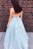 Promfast Spaghetti Strap Beaded Lace Prom Dress, Charming Long Prom Gown PFP1901