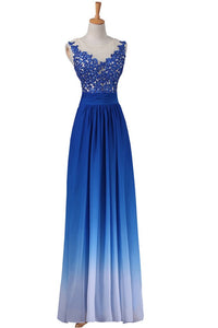 A-line Strapless Floor-Length Royal Blue Ombre Chiffon Long Prom Dress PFP1345