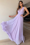 A-Line V-Neck Floor-Length Lilac Chiffon Prom Bridesmaid Dress PFP1350