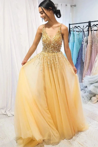 Promfast A Line Floor Length Tulle Prom Dress with Sequins, Cheap V Neck Long Formal Dresses PFP1903