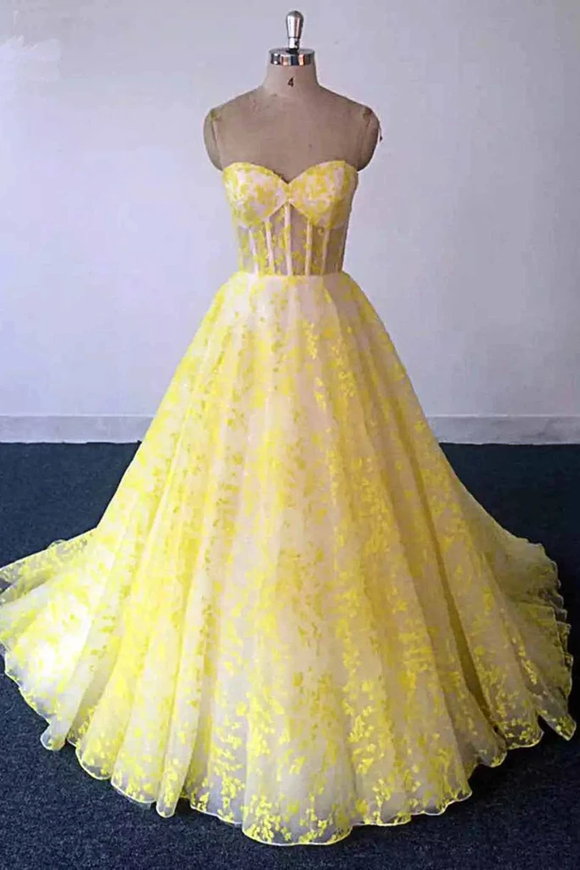 Promfast Yellow Lace Sweetheart Long Graduation Dress, A Line Prom Dress For Teens PFP1904
