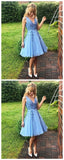 Simple Blue V-Neck Lace Cheap Short Homecoming Dress With Lace Appliques PFH0118