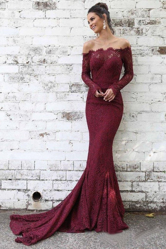 Long Sleeve Lace Maroon Mermaid Prom Dresses Off the Shoulder Evening Dress PFP1364