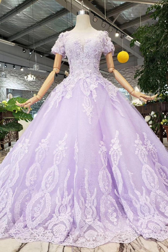 Lilac Ball Gown Short Sleeves Prom Dresses with Lace, Quinceanera Dress PFP1366
