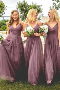 A-Line Spaghetti Straps V Neck Floor-Length Light Purple Tulle Bridesmaid Dress PFB0020
